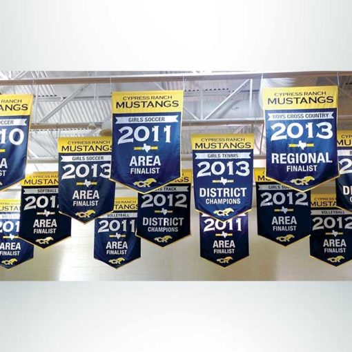 Vinyl gym banners showing school sport championships in blue and gold hanging from gym ceiling.