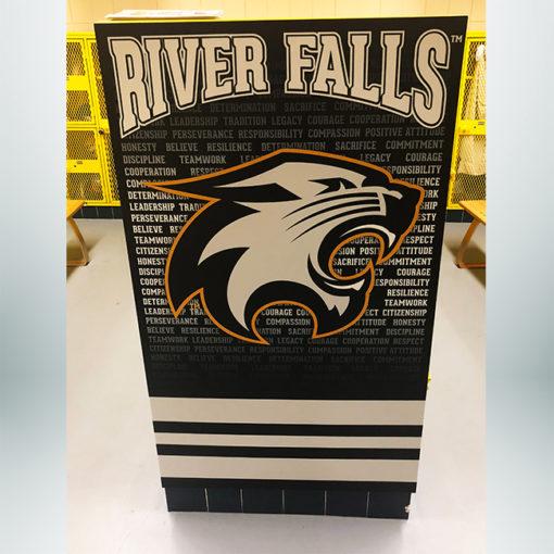 School branding locker room locker end caps with black and white graphics.
