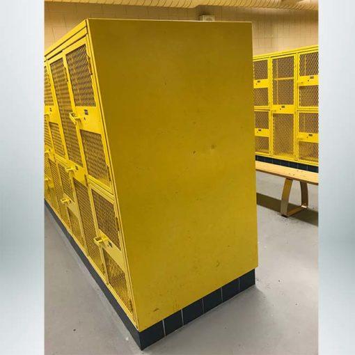 Locker room before locker end caps are installed.