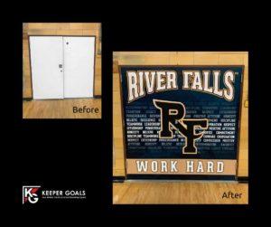 School branding custom double door wrap shown before and after installation.