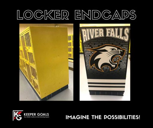Custom locker endcaps before and after photos.