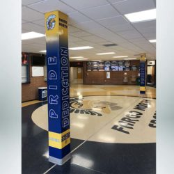 Pillar Wrap with custom blue and gold design.