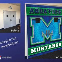 School branding vinyl double door wraps before and after photos.