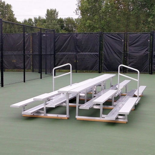 Model #B3RPYRAMID19A. 19' 3 row bleachers back to back. Ideal for tennis courts.