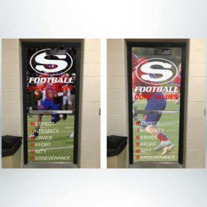 School branding single door wrap.