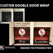 Custom double door wrap before and after branding.