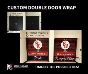 Custom double door wrap before and after branding.