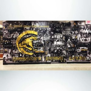 Wall wrap mural in athletic hallway to cover a rough wall.