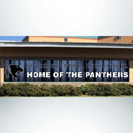 Perforated window film with black and white logo.