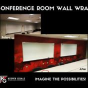 Conference room custom wall wrap show before and after installation.