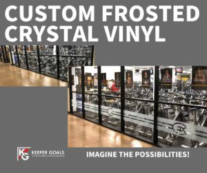 School branding custom frosted crystal vinyl shown before and after branding.