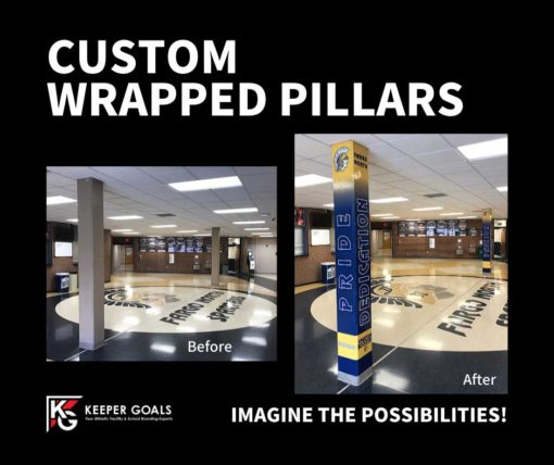 School branding custom pillar wraps shown before and after installation.