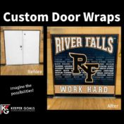 Custom double door wrap shown before and after installation.