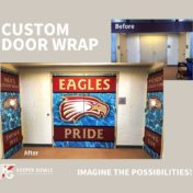 Double door wrap shown before and after branding.