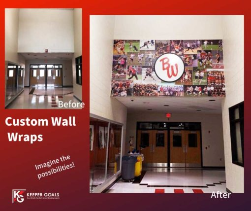 Custom wall wrap shown before and after branding.