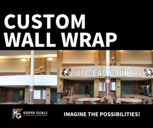 custom wall wrap shown before and after installation.