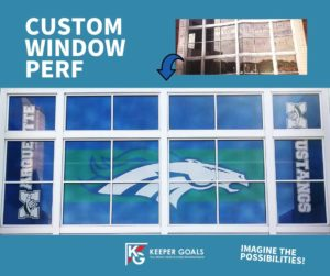 Custom peforated window film shown before and after installation.