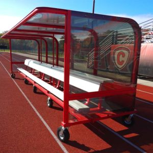 Model #AB20SBUILTIN. 20' aluminum bench with top shelf built into player shelter.