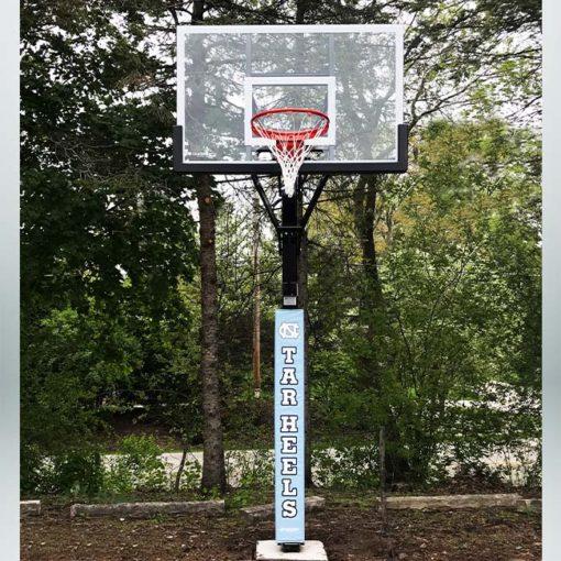 Model #ALLAMERINGL. Goalsetter All American basketball hoop. University of North Carolina Tar Heels pole pad.