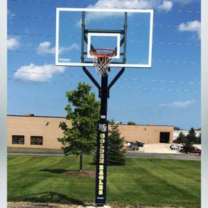 Model #ALLAMERINGL. Goalsetter All American basketball hoop. Marquette Golden Eagles pole pad.