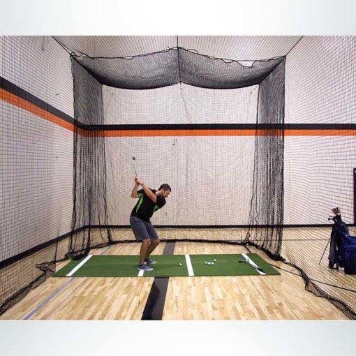 Model #BCTEN70IN. Indoor tension batting cage with phantom hitting golf insert.