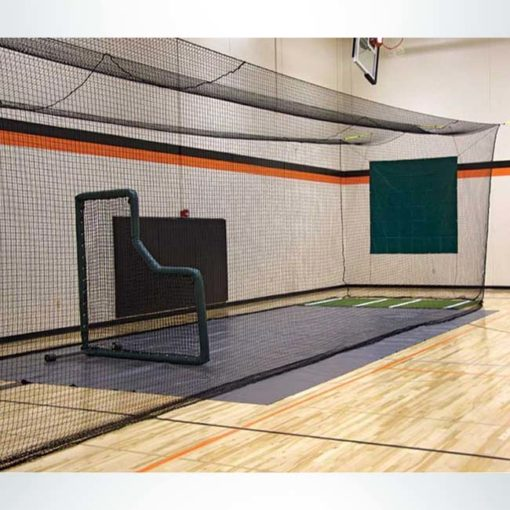 Model #BCTEN70IN. Indoor tension batting cage with pitching screen.