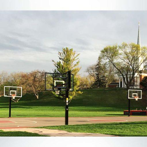 MVP basketball hoops at a park.