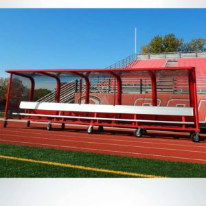 Model #PPS20P20AB20SBOX. Red, portable, 20 player shelter with caster wheels and aluminum bench.