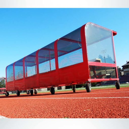 Model #PPS20P20AB20SBOX. Red, portable, 20 player shelter with caster wheels and aluminum bench. Rear view.