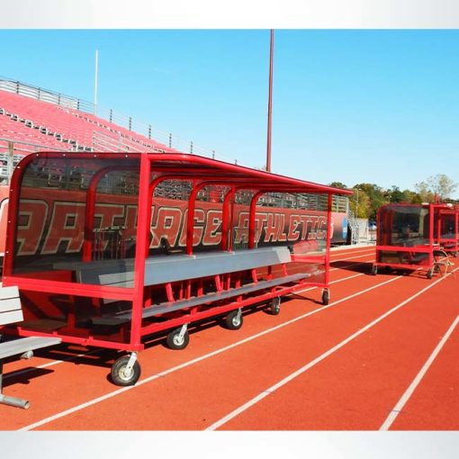 Model #PPS20P20SBOX. Red, portable, 20 player shelter with caster wheels.