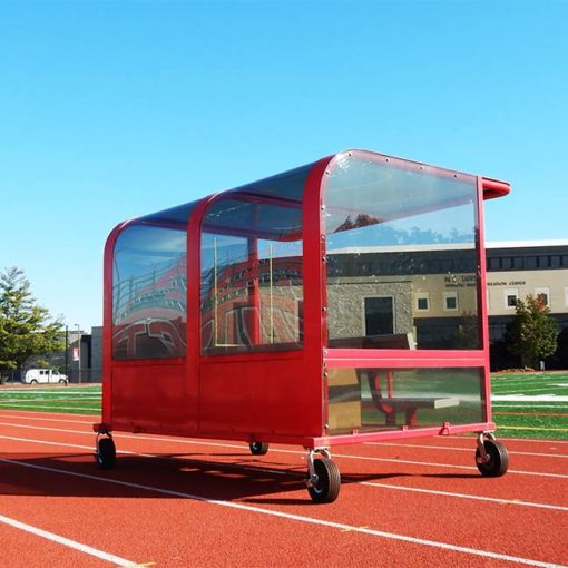 Model #PPS8P8AB8TM8BOX. Red, portable, 8' shelter with timekeeper table built in. Rear view.