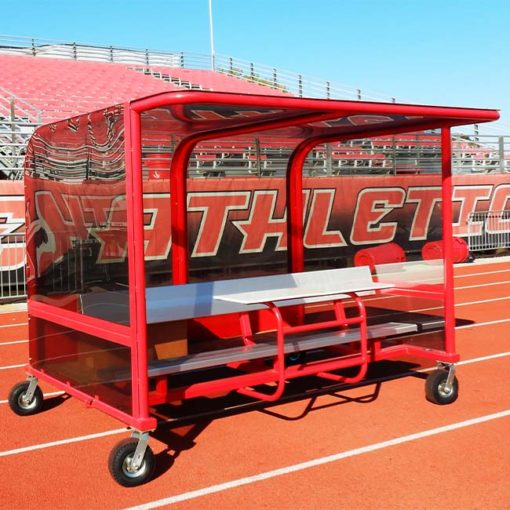 Model #PPS8P8AB8TM8BOX. Red, portable, 8' shelter with timekeeper table built in.