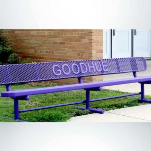 Model #PPS9346L10PP2. School branded 10' purple, free standing buddy bench in front of school.
