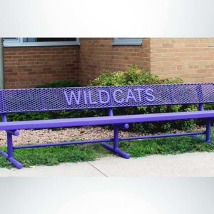Model #PPS9346L1OPP. School branded 10' purple buddy bench outside of school.