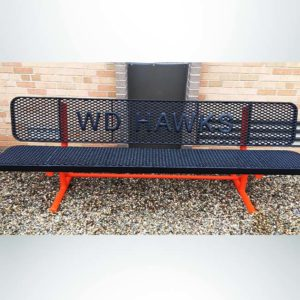 Model #PPS9346LIOPP3. School branded 8' black and orange buddy bench outside of school.