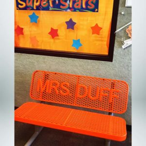 Model #PPSBUDDYBENCH. 4' orange buddy bench for classroom.
