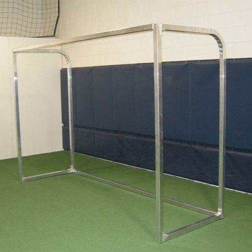 "Model #PSGE2CUSTOMBB. 2"" aluminum custom backyard soccer goal shown without net."