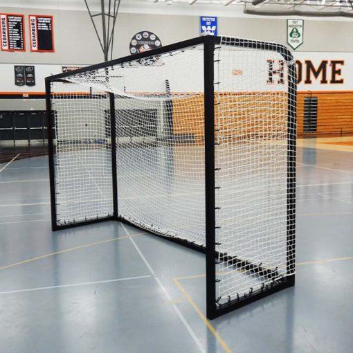 """Model #PSGE2CUSTOMBB. 2"""" aluminum custom backyard soccer goal black."""