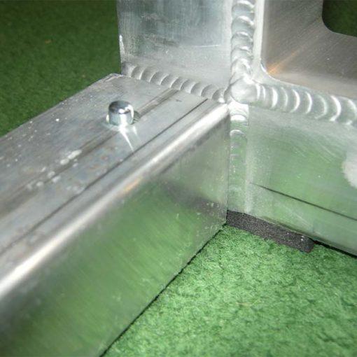 """Model #PSGE2CUSTOMBB. 2"""" aluminum custom backyard soccer goal close up."""