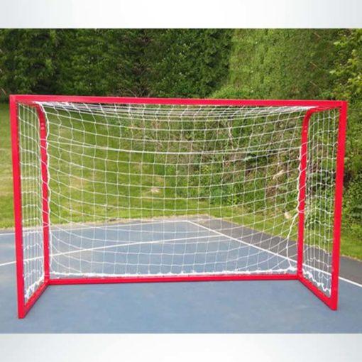 "Model #PSGE2CUSTOMBB. 2"" aluminum custom backyard soccer goal red."