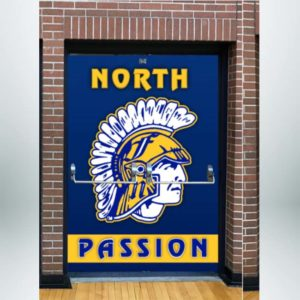 Gymnasium entrance double door wrap in yellow, white and blue with school logo.