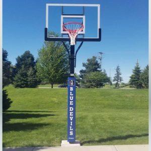 Model #X554. Goalsetter Extreme Series backyard or driveway basketball hoop. Duke Blue Devils pole pad in blue.