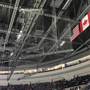 Barrier net for NHL All-Star game. Net hangs from the ceiling to protect the fans. With Sport Resource Group.