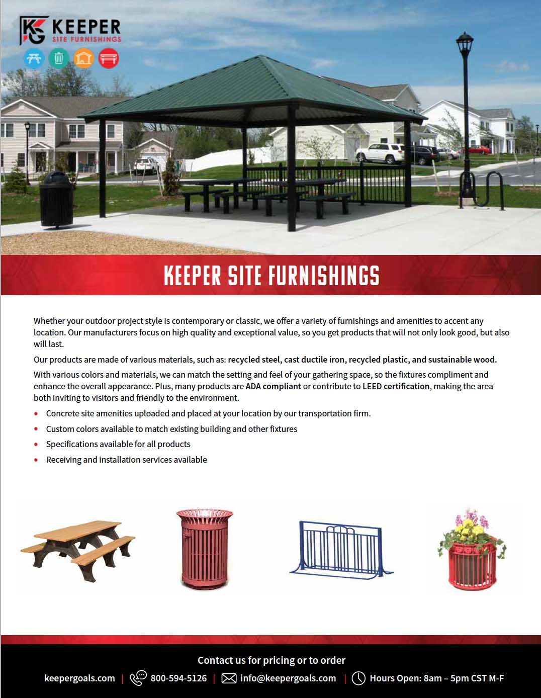 Keeper Site Furnishing Product Overview Flyer