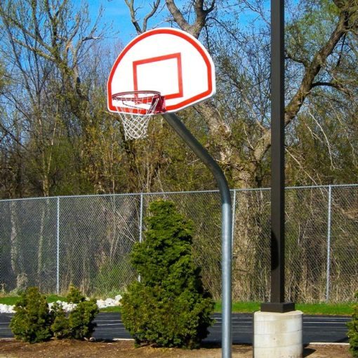 Model #KG460. Gooseneck basketball pole with 60 degree angle and 4' offset for use on playgrounds.