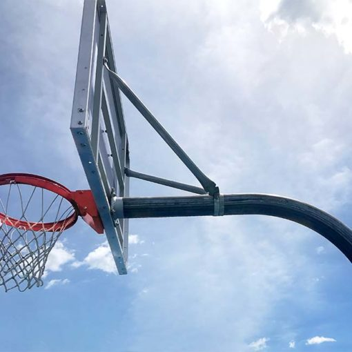Model #KG490. Galvanized steel gooseneck basketball pole with 90 degree arm for playground use.