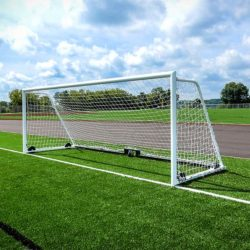 """Model #M88WRD4CB. 8' x 24' wheeled soccer goal with 4"""" round posts and caster wheel backbar."""