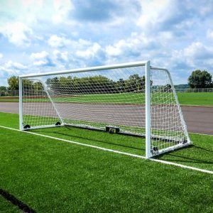 "Model #M88WRD4CB. 8' x 24' wheeled soccer goal with 4"" round posts and caster wheel backbar."
