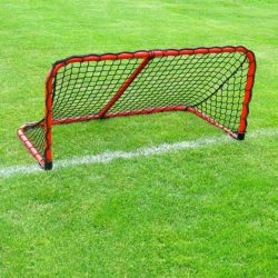 Model #ALUM42. Folding aluminum soccer goal powder coated red with black net.