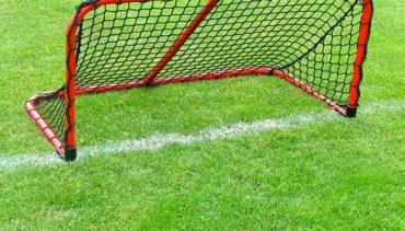Model #ALUM42. Folding aluminum soccer goal powder coated red with black net.